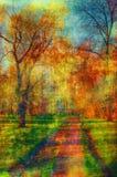 Art grunge landscape - walkway through the park. Art grunge landscape showing walkway through the park on beautiful autumn day Stock Image