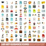100 art guidance icons set, flat style. 100 art guidance icons set in flat style for any design vector illustration Stock Illustration
