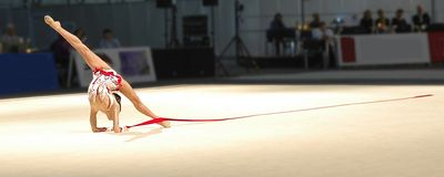 Art gymnastics. The international competitions on art gymnastics in Riga Royalty Free Stock Photo