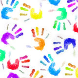 Art hand. Background from multi-coloured prints of children's hands Stock Photos
