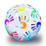 Art hand. Globe from multi-coloured prints of children's hands Stock Photo