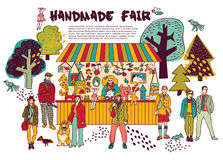 Art hand made fair toys in park outdoor. Stock Photography