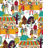 Art hand made fair toys in park outdoor seamless pattern. Royalty Free Stock Images