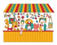 Art hand made fair toys seller isolate on white. Stock Photography