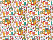 Art hand made objects toys color seamless pattern. Royalty Free Stock Photography