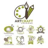 Art and handmade craft logo templates flat set. Stock Photo