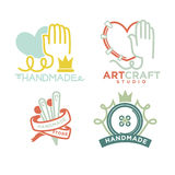 Art and handmade craft logo templates flat set. Vector posters for artist studio or painter shop, knitting needlework and tailoring school and pottery workshop Royalty Free Stock Images