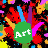 Art Handprint Represents Colourful Youngsters und Farbe Lizenzfreie Stockfotos