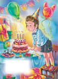 Little boy blows candle light on the cake. Art for happy birthday greeting card with boy blowing candles on the cake with template for text stock illustration