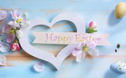 Art happy Easter; Easter background with Easter eggs and spring Stock Photography