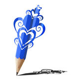 Art of heart graphic  blue pencil. Stock Photos