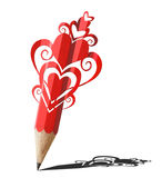Art of heart graphic red pencil. Stock Photography