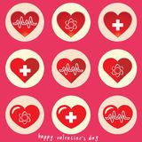 Art Heart Icon Set Fotografie Stock Libere da Diritti