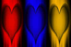 Art Heart-Primary colors. Triptych of hearts carved in wood Royalty Free Stock Photo