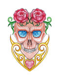 Art heart vintage mix surreal skull. Royalty Free Stock Images