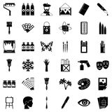 Art high school icons set, simple style. Art high school icons set. Simple set of 36 art high school vector icons for web isolated on white background Stock Photo