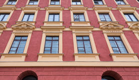 Art of historic windows apartment building of the old city Royalty Free Stock Image