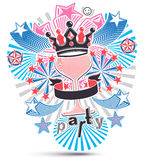 Art holiday background with stylized 3d monarch crown placed Stock Image