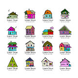 Art houses collection, sketch for your design Stock Photos