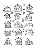 Art houses collection, sketch for your design Royalty Free Stock Photos