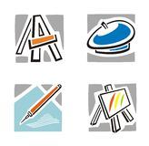 Art Icon Series. A set of four fine arts icons Royalty Free Stock Photo