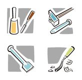 Art Icon Series. A set of four art icons of various tools Royalty Free Stock Photo