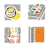 Art Icon Series. A set of four fine arts icons Royalty Free Stock Photography