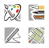 Art Icon Series. A set of four fine arts icons vector illustration