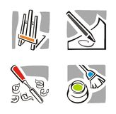 Art Icon Series. A set of four fine arts icons Stock Image