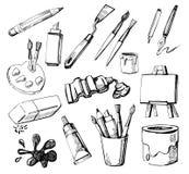 Art icons. Set of Hand Drawn Artist's Stuff royalty free illustration