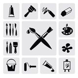 Art icons. Vector black art icons set on gray Stock Images