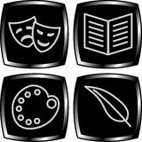 Art icons. Four black icons representing types of arts Stock Photography