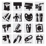 Art icons set. Vector black art icons set on gray Royalty Free Stock Image