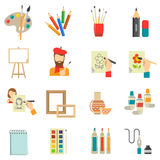 Art Icons Set. With artist tools and paint  vector illustration Royalty Free Stock Photo