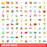100 art icons set, cartoon style. 100 art icons set in cartoon style for any design vector illustration Royalty Free Stock Image