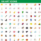 100 art icons set, cartoon style. 100 art icons set in cartoon style for any design vector illustration stock illustration