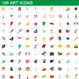 100 art icons set, cartoon style. 100 art icons set in cartoon style for any design illustration stock illustration