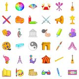 Art icons set, cartoon style. Art icons set. Cartoon style of 36 art vector icons for web isolated on white background Stock Photo