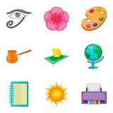 Art icons set, cartoon style Stock Image