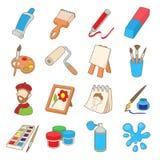 Art icons set, cartoon style Stock Images
