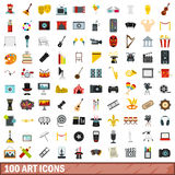 100 art icons set, flat style. 100 art icons set in flat style for any design vector illustration Royalty Free Stock Images
