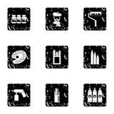 Art icons set, grunge style Stock Photos