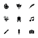 Art 9 icons set. Isolated, black on white background Stock Images