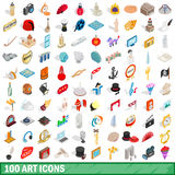 100 art icons set, isometric 3d style. 100 art icons set in isometric 3d style for any design vector illustration Royalty Free Stock Image