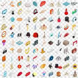 100 art icons set, isometric 3d style Royalty Free Stock Photos