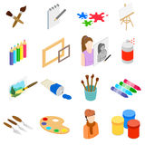 Art icons set, isometric 3d style. Art icons set in isometric 3d style  on white background Stock Images