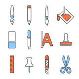 Art icons set. Line vector design illustration Stock Image