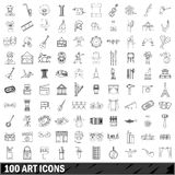 100 art icons set, outline style. 100 art set in outline style for any design vector illustration Stock Image