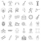 Art icons set, outline style Stock Images