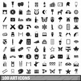 100 art icons set, simple style Stock Photos